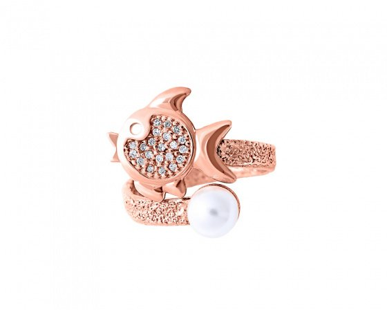 "Image of """"Ocean Life #3"" silver ring rose gold plated"""