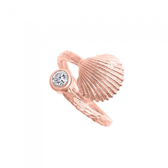 "Image of """"Shiny Oyster"" silver ring rose gold plated"""