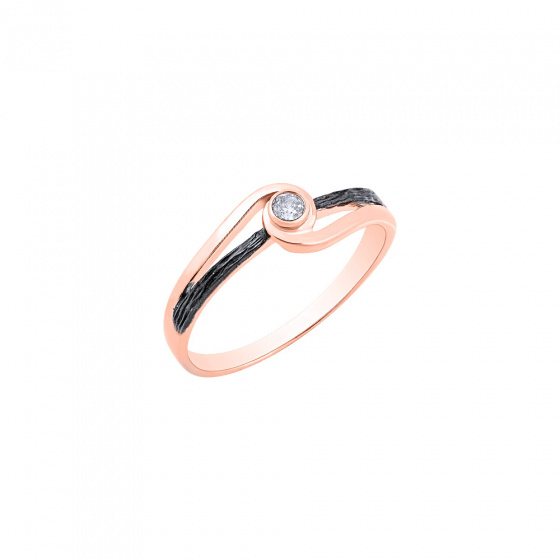"""Image of """"""""Epicenter"""" silver ring rose gold plated"""""""