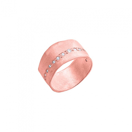"Image of """"Natural Effect"" silver chevalier ring rose gold plated"""
