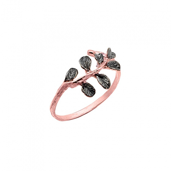 "Image of """"Tree Branch"" silver ring rose gold plated"""