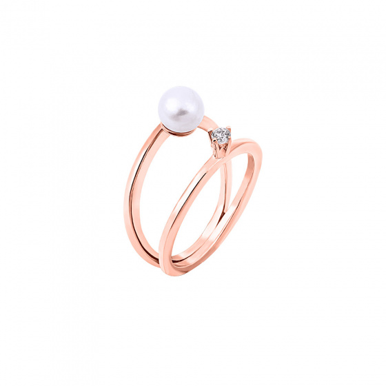 "Image of """"Duchess"" silver ring rose gold plated"""