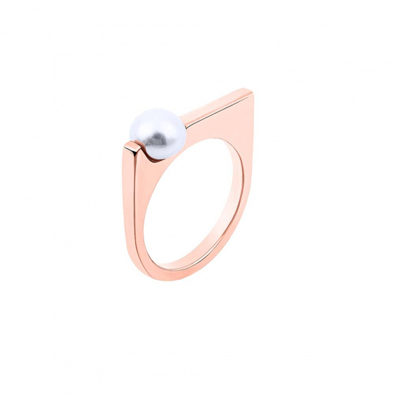 """Image of """"""""Pearl Scepter"""" silver ring rose gold plated"""""""