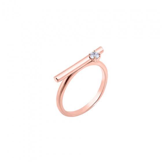 """Εικόνα του """"Ασημένιο δαχτυλίδι """"Statement"""" ροζ επίχρυσο """""""