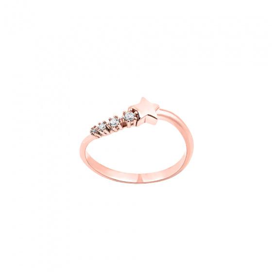 """Εικόνα του """"Ασημένιο δαχτυλίδι """"Lucky Star"""" ροζ επίχρυσο """""""