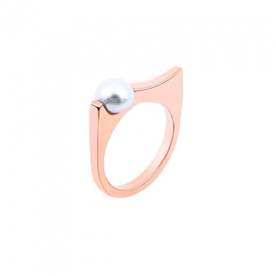 """Εικόνα του """"Ασημένιο δαχτυλίδι """"Wavy Pearly Scepter"""" ροζ επίχρυσο """""""