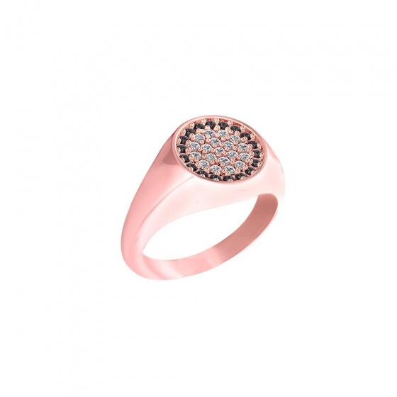"""Εικόνα του """"Ασημένιο signet σεβαλιέ δαχτυλίδι """"Basuto"""" ροζ επίχρυσο"""""""