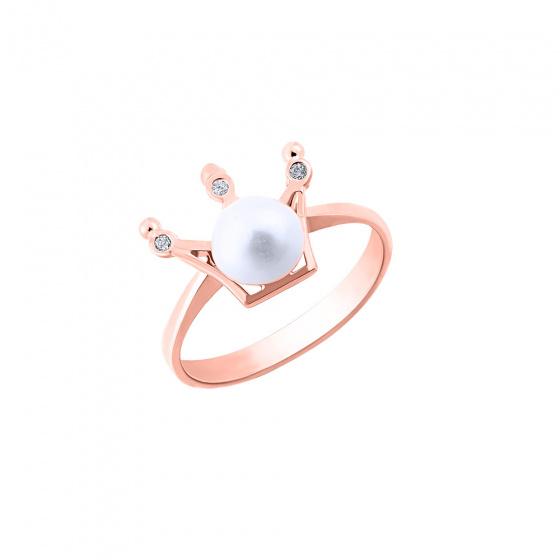 """Εικόνα του """"Ασημένιο δαχτυλίδι """"Pearly Crown"""" ροζ επίχρυσο"""""""