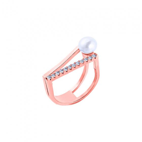 """Εικόνα του """"Ασημένιο δαχτυλίδι """"Fascinating"""" ροζ επίχρυσο"""""""