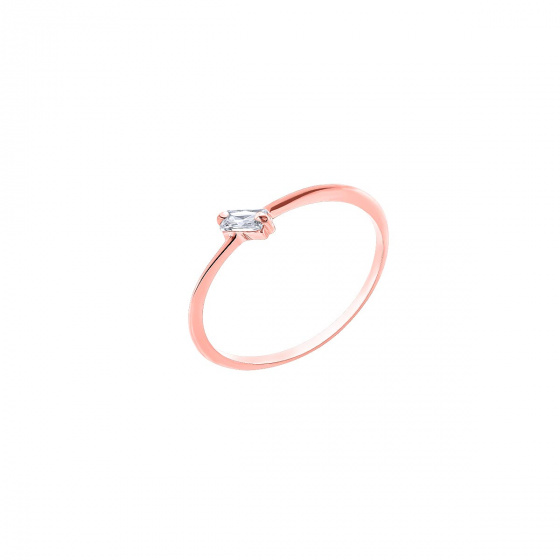 """Image of """"""""Baguette"""" silver ring rose gold plated"""""""