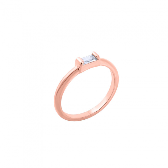 "Image of """"Exquisite White Baguette"" inel din argint placat cu aur roz"""
