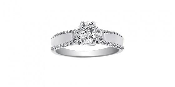 "Image of """"Emblem of Light"" white gold ring K9"""