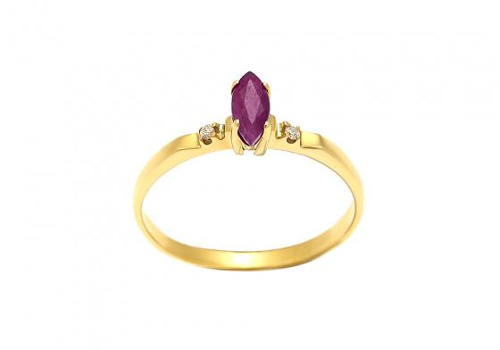 """Εικόνα του """"Χρυσό δαχτυλίδι Κ14 """"Marquise Rubin & Diamonds"""""""""""