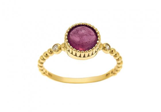 """Εικόνα του """"Χρυσό δαχτυλίδι Κ14 """"Tourmaline Crown"""" (Κόκκινο, Χρυσό Κ14)"""""""
