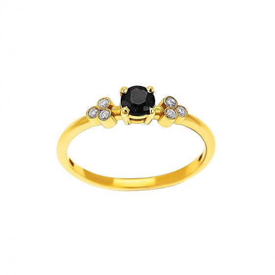 """Εικόνα του """"Χρυσό δαχτυλίδι Κ18 """"Triple Vintage Black"""" με μαύρο διαμάντι"""""""
