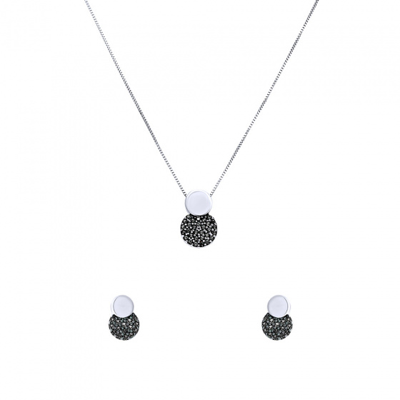 "Image of """"Black Planet"" white gold set of earings and necklace K14"""