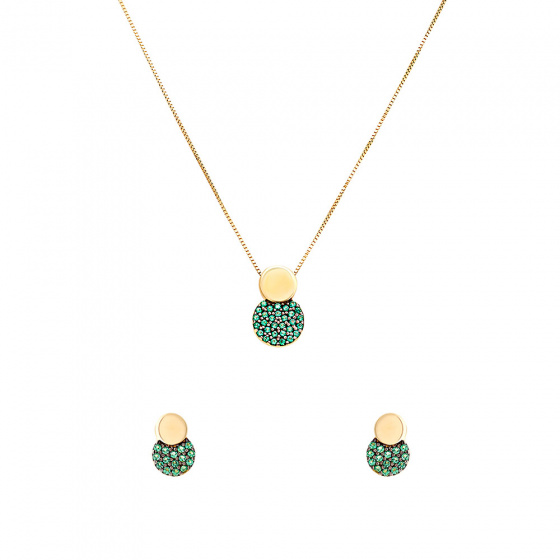 "Image of """"Green Planet"" gold set of earrings and necklace K14"""