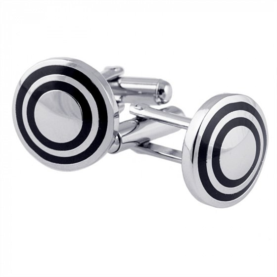 "Image of """"Elegance"" round steel cufflinks #2"""