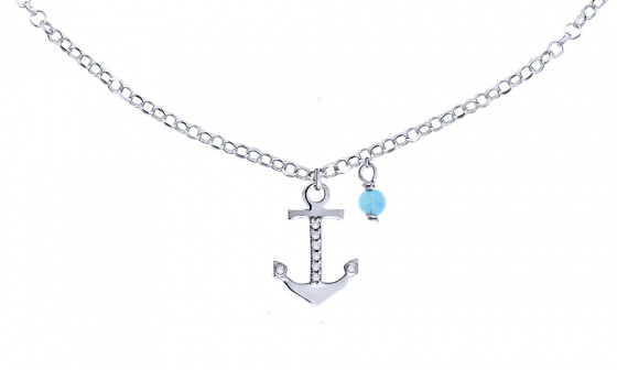 "Image of """"Mistress of the Sea"" silver foot chain"""