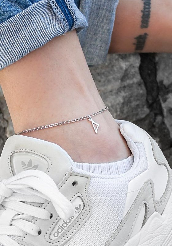 "Image of """"Δ"" silver greek monogram anklet"""