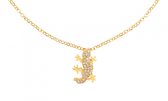 "Image of """"Shiny Lizard"" silver foot chain gold plated"""