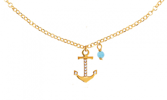 "Image of """"Mistress of the Sea"" silver foot chain gold plated"""