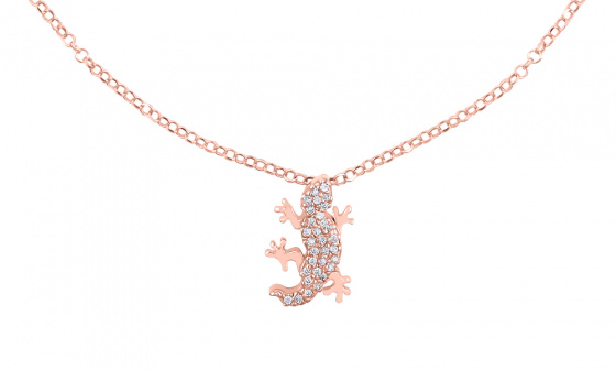 "Image of """"Shiny Lizard"" silver foot chain rose gold plated"""
