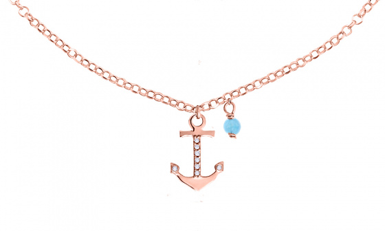 "Image of """"Mistress of the Sea"" silver foot chain rose gold plated"""