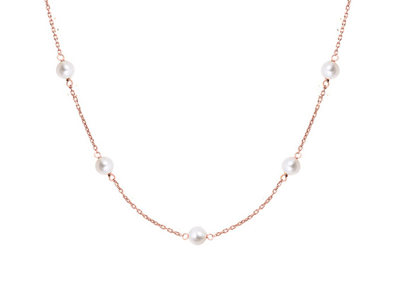 "Image of """"Pearly Light"" silver anklet rose gold plated"""