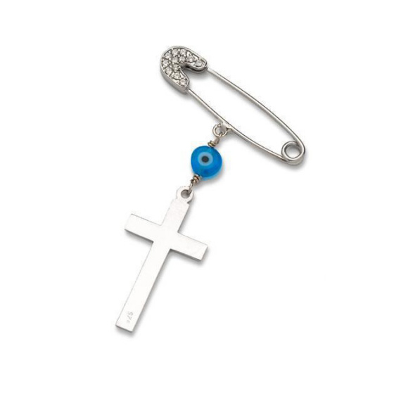 "Image of """"Guarding Cross"" silver baby safety pin"""