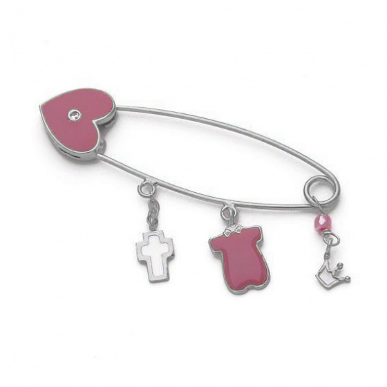 "Image of """"Guarding Charm #4"" silver baby safety pin"""