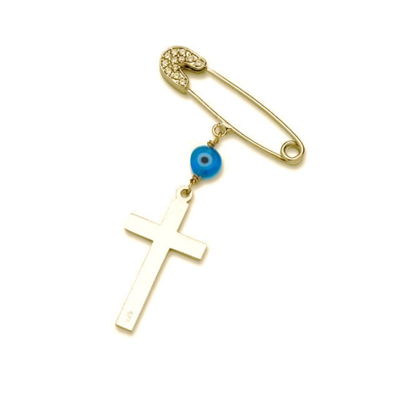 "Image of """"Guarding Cross"" silver baby safety pin gold plated"""
