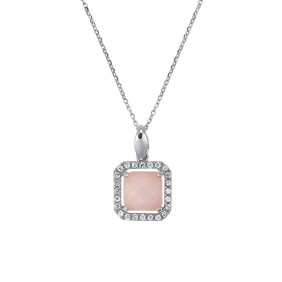 "Image of """"Square Pink Jade #1"" silver pendant"""