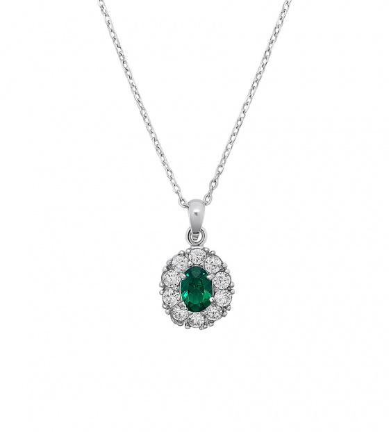 """Εικόνα του """"Oval classic μενταγιόν (Πράσινο, Επιροδιωμένο ασήμι 925)"""""""