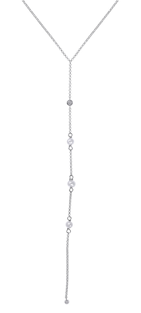 """Image of """"Tie chain silver 925 necklace with pearls"""""""