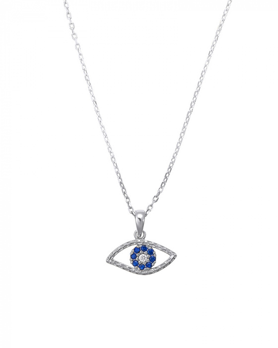 "Image of """"Blue zircons eye"" silver pendant"""