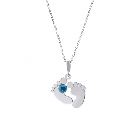 """Image of """"Baby feet silver pendant with small eye"""""""