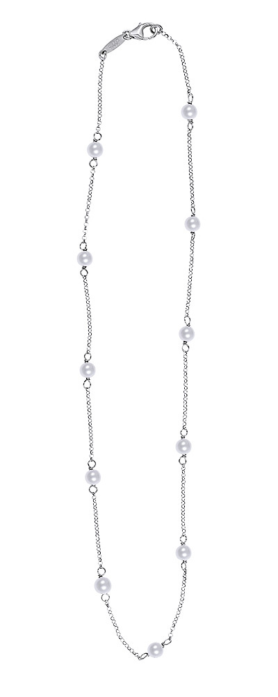 "Image of ""Simple Rosary necklace, silver with Pearls"""