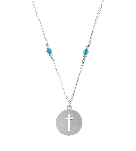 """Image of """"""""Cross in Circle"""" silver necklace"""""""