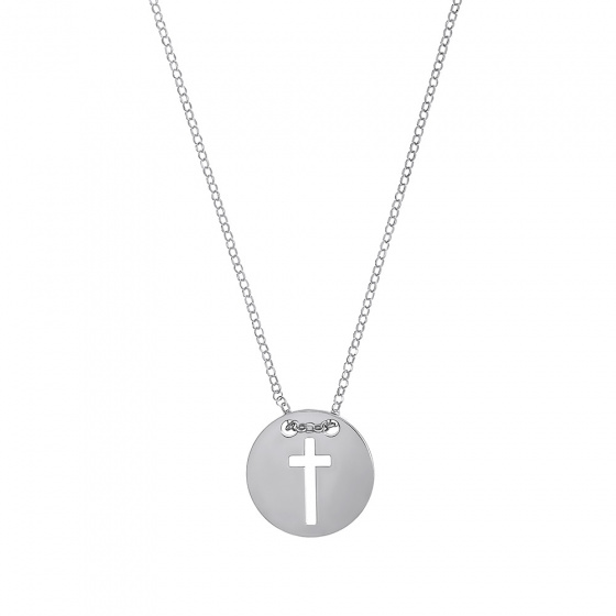 "Image of """"Cross in Circle"" silver necklace"""