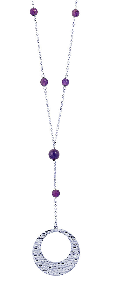 "Image of ""''Wave Circle & Amethyst'' silver necklace"""