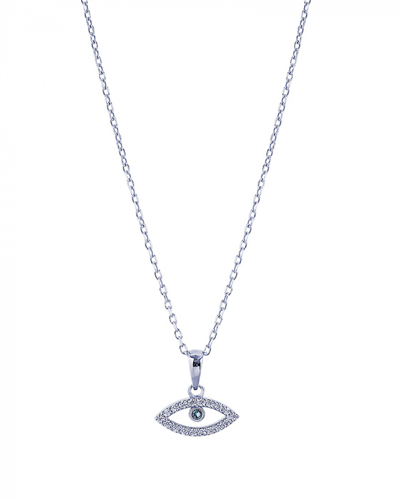 "Image of """"Evil Eye"" silver necklace"""