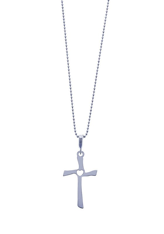 "Image of """"Crossed Heart"" silver cross"""