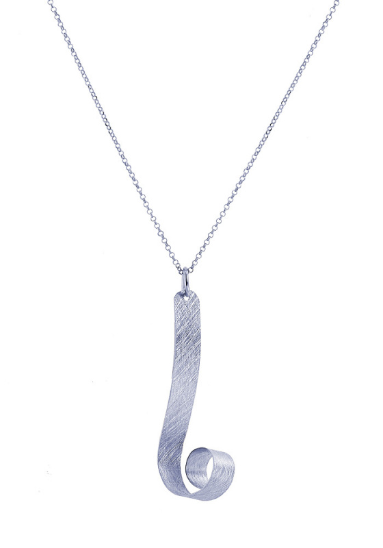 "Image of """"Deep Ocean Waves"" silver necklace"""