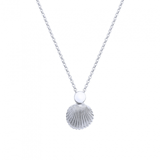"Image of """"Pearl in Oyster"" silver necklace"""