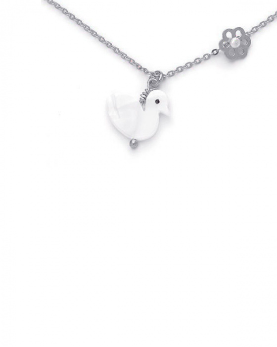 "Image of """"Lovely Swan"" silver children's necklace"""