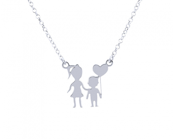 "Image of """"Mother & Son"" silver necklace"""