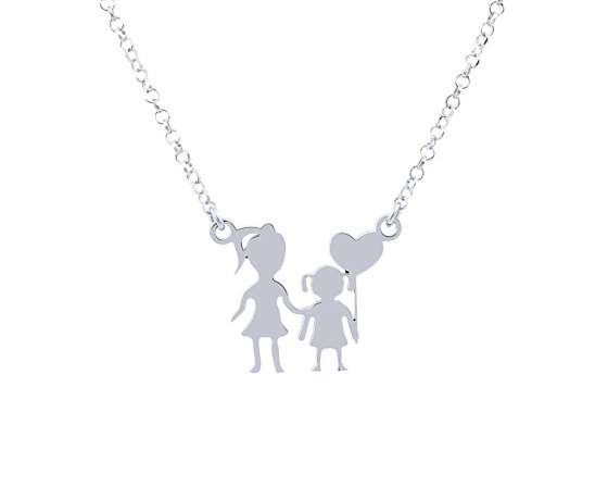 "Image of """"Mother & Daughter"" silver necklace"""