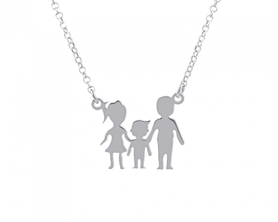 "Image of """"Parents & Son"" silver necklace"""