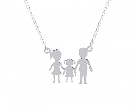 "Image of """"Parents & Daughter"" silver necklace"""